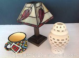 Tiffany Style Candle Holder Lamp Ethniks Beadwork