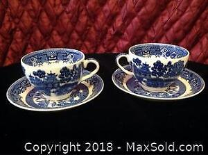 2 Willow Burslem Cup and Saucer Sets B