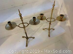 TWO solid brass candleholders. 14 inches high. 18th century. VERY RARE