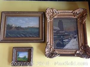 Three antique oil paintings on board. Largest measures 13 by 10.5 inches.