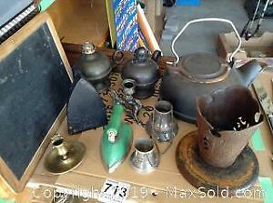 Cast Iron Kettle and Metal C
