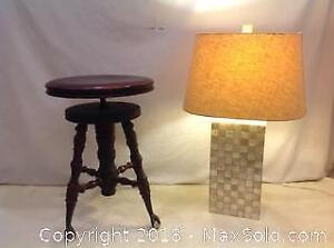 Vintage Piano Stool With Lamp