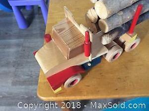 Childrens Wood Desk And Chair And Toy Truck-A
