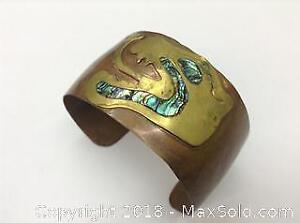 Abstract Vintage Mexican Copper And Brass Bangle