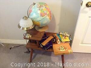 End Table, Lamp, Globe And More A