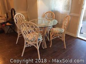 Round Glass And Rattan Dining Table And Chairs B