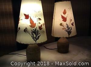 Two Dornbusch Studio Pottery Base Lamps and Shades