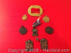 A selection of Deco period Canadian sporting awards. Most marked sterling