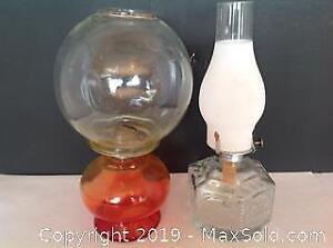 2 Vintage Oil Lamps Eagle Amberina Pressed Glass