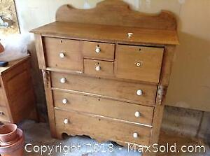 Antique Pine Bonnet Chest Dresser C