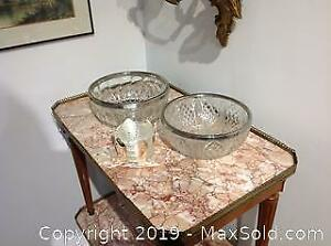 TWO antique pressed glass bowls, each with silver metal rims along with coaster stand.
