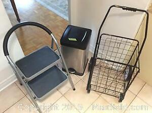 Step Ladder Shopping Cart And SS Garbage Can B