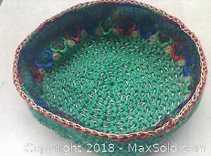 Vintage Hand Knitted Hat Red Green Gold Blue