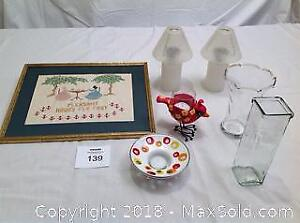 Oil Lamps, Candle Holders, Vases, Needle Point