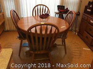 Oak Pedestal Table And Chairs C