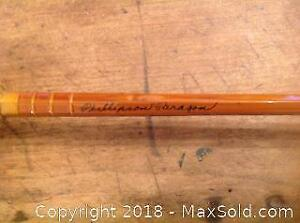 Signed Phillipson Paragon bamboo 8. 5 feet fly fishing rod in vintage canvas bag with extra end piece.