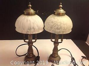 2 Brass Table Lamps Glass Shades Working