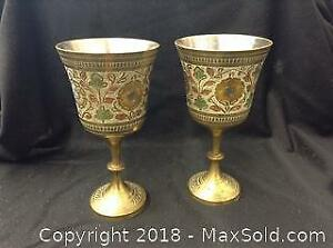 Etched Brass Goblets Hand Painted Silver Plated