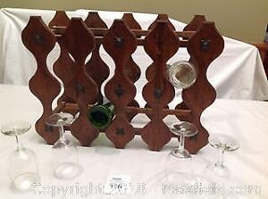 Vintage Wine Rack And 4 Wine Glasses