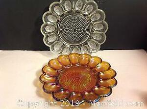 2 Vintage Depression Glass Egg Plate Tray