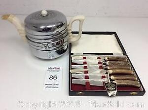Everhot 1950s Insulated Teapot & Stag Horn Knives