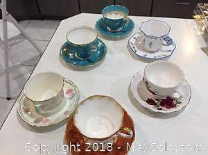 Collection of Bone China Teacups and Saucers A