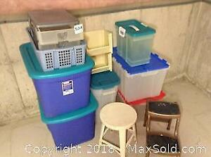 Storage Totes and Stools. C