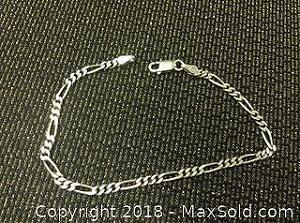 Sterling Silver Figaro Bracelet .925 Italy 7 Inch