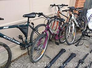 4 Bicycle Lot with car carrier roof rack system A