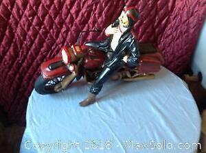 Extra Large Wooden Vintage Man On Motorcycle