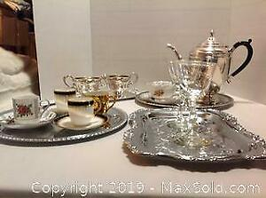 Silver-plate Set and Trays. A