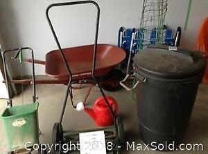 Wheel Barrow, Push Mower, Spreader And More B