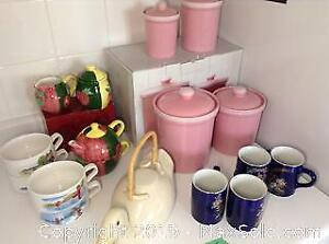 Canisters, Tea Set and More. B
