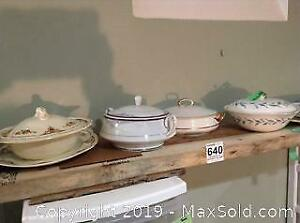 China Casseroles and Platter. A