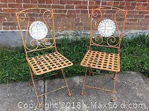 Set of Two Metal Bistro Chairs