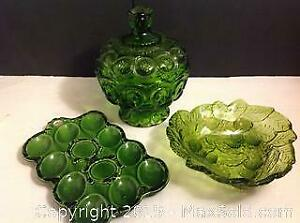 Vintage Green Depression Glass And Pottery Lot