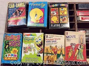 Variety Of Card Games In Storage Holder