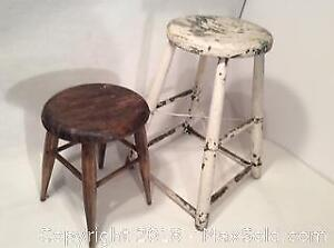 Two Antique Wood Stools