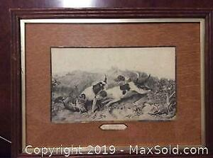 Old Engraving or Etching Hunting Title The Death Of Fox