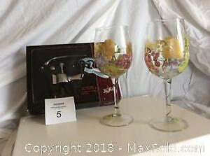 Hand Painted Wine Glasses and Opener
