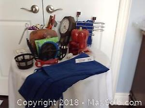 CANDLES, KITCHEN ITEMS, APRONS, CLOCK, TOWEL HANGER, DISH RACK