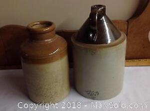 Antique Crock & Moonshine Jug