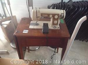 Sewing Machine And Cabinet- B