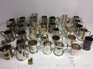 Collection Of Mostly Pewter Mugs