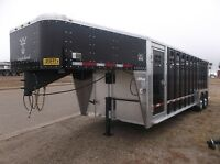2016 Wilson Ranch Hand 24' Black Gooseneck Stock Trailer
