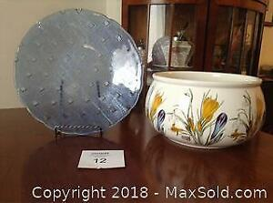 Italian Glass Platter And Ceramic Serving Bowl