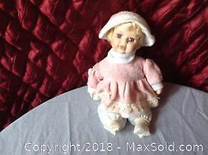 Wind Up Musical Porcelain Baby Girl Doll
