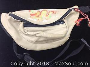 Beige Leather Dragon Fanny Pack