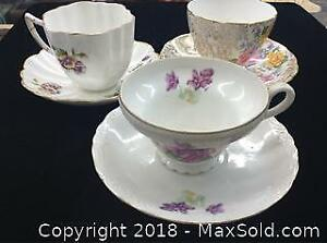 3 China Cups and Saucers
