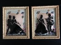 Vintage 1940s Pair of Glass Silhouette Paintings